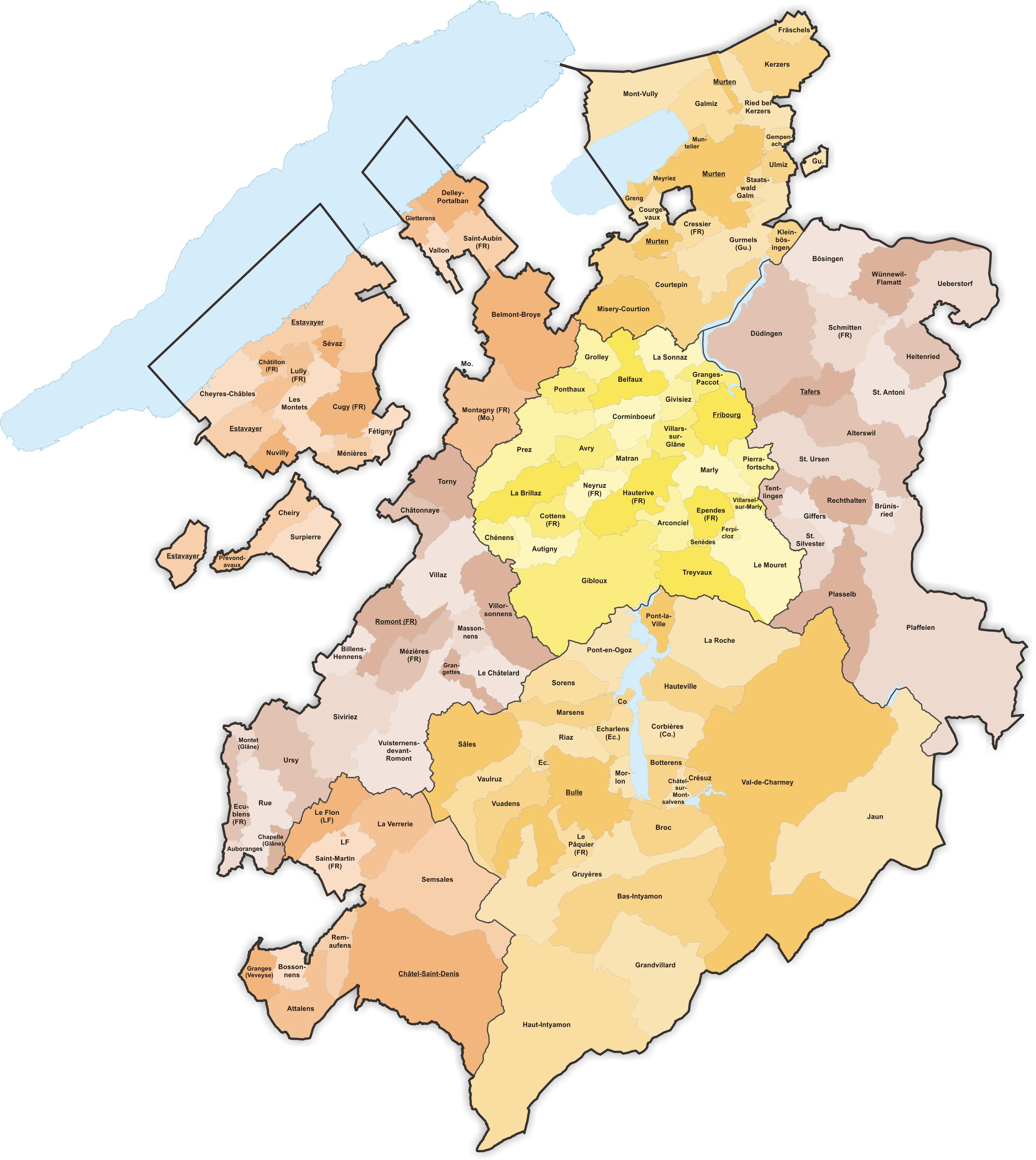 carte des cantons 2020 Communes du canton de Fribourg   Wikiwand