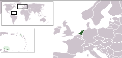 Location of  ราชอาณาจักรเนเธอร์แลนด์  (dark green)– in Europe  (green & dark gray)– in the European Union  (green)  —  [Legend]