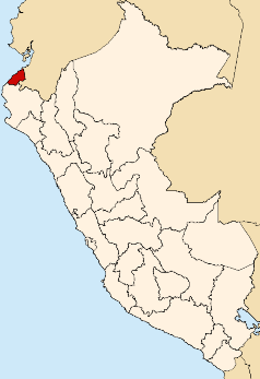 Location of the Tumbes region in Peru