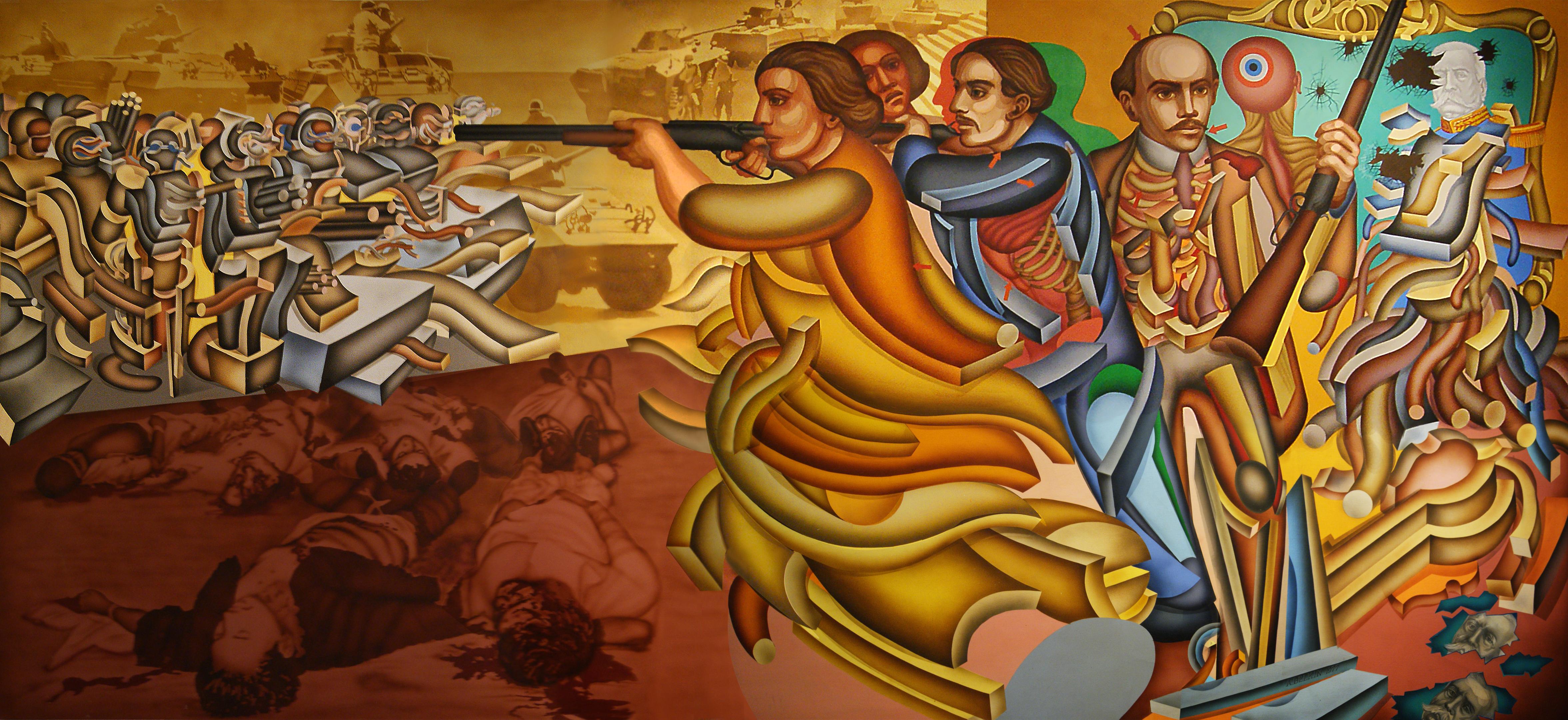 File los hermanos serd n la lucha contin a 1977 de for Mural mexicano