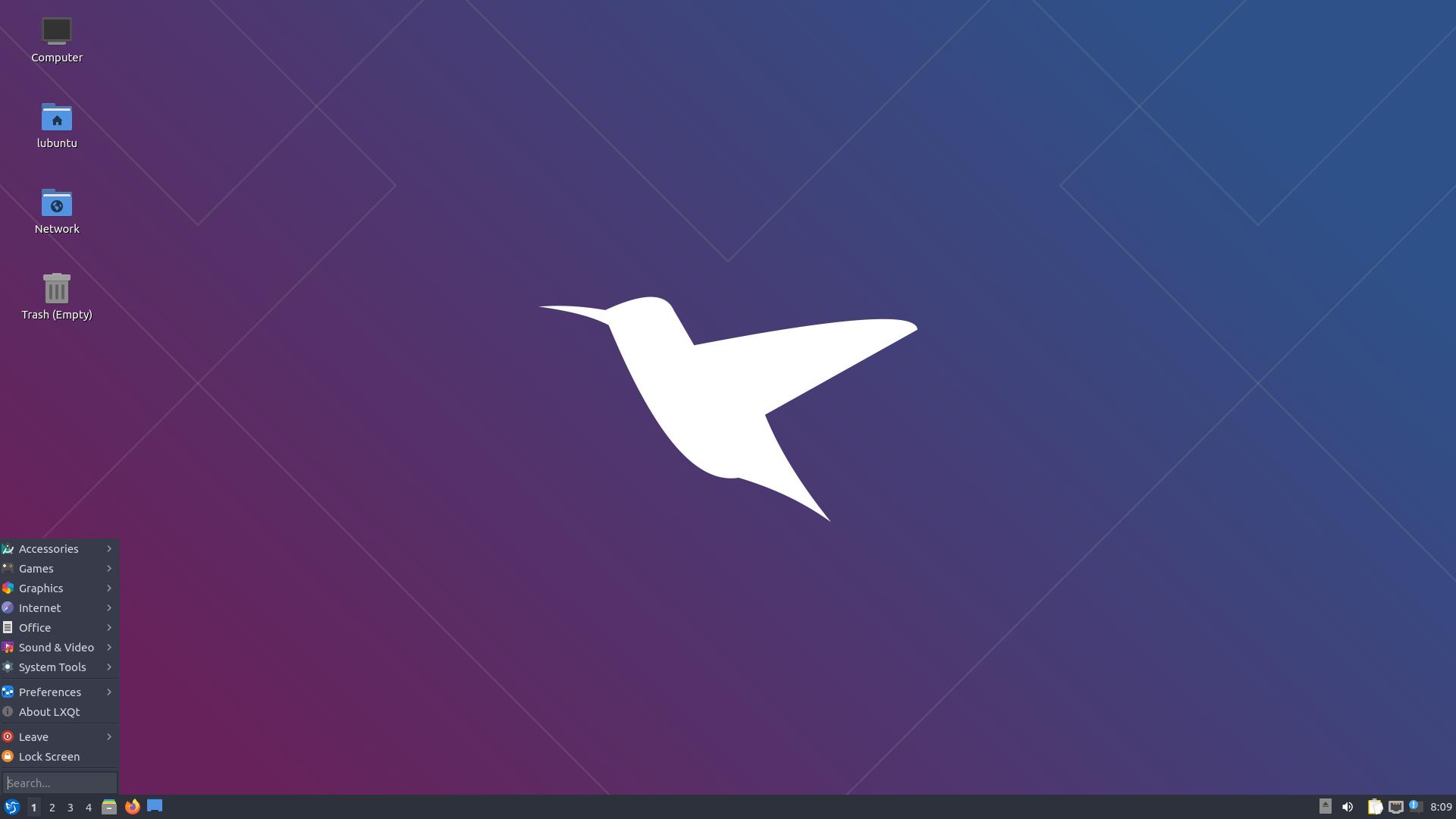 Tela incial de um dos sistemas operacionais mais leves, o Lubuntu.
