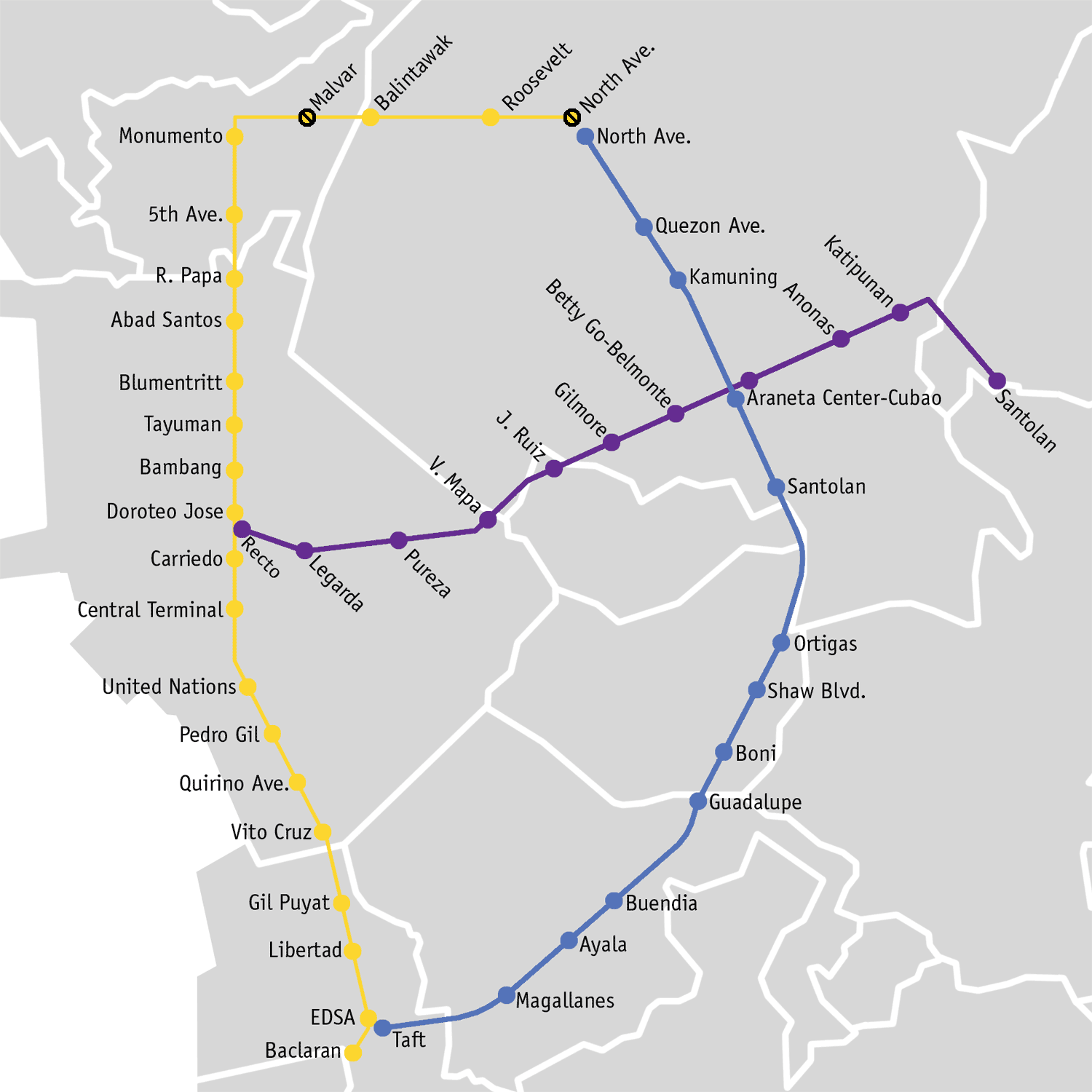 Directions on Web: Distance to a LRT-2 Station from Another