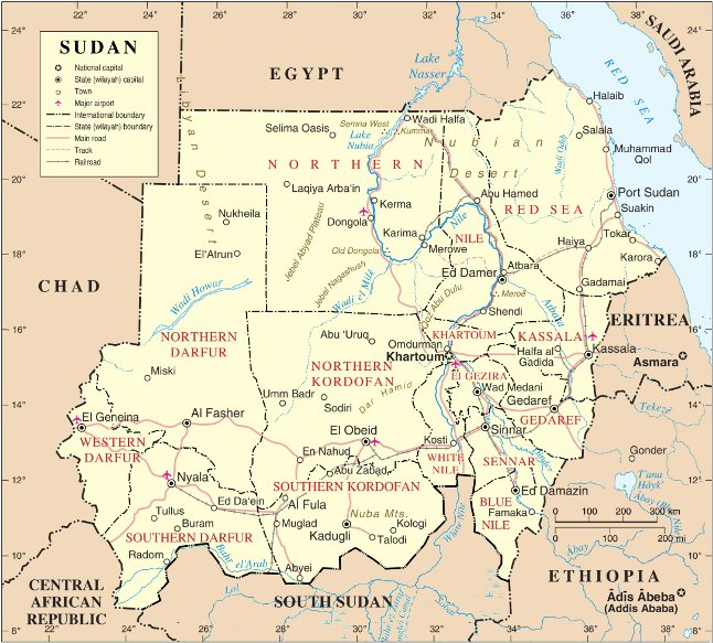 A map of Sudan. The Hala'ib Triangle has been under Egyptian administration since 2000. Map of Sudan (New).jpg