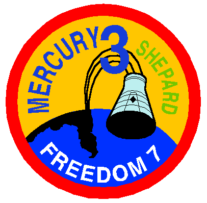 "The circular patch depicts a Mercury capsule and a map of Florida, indicating the ballistic path of the capsule into the Atlantic Ocean. The words say: ""Mercury 3 – Shepard – Freedom 7"""