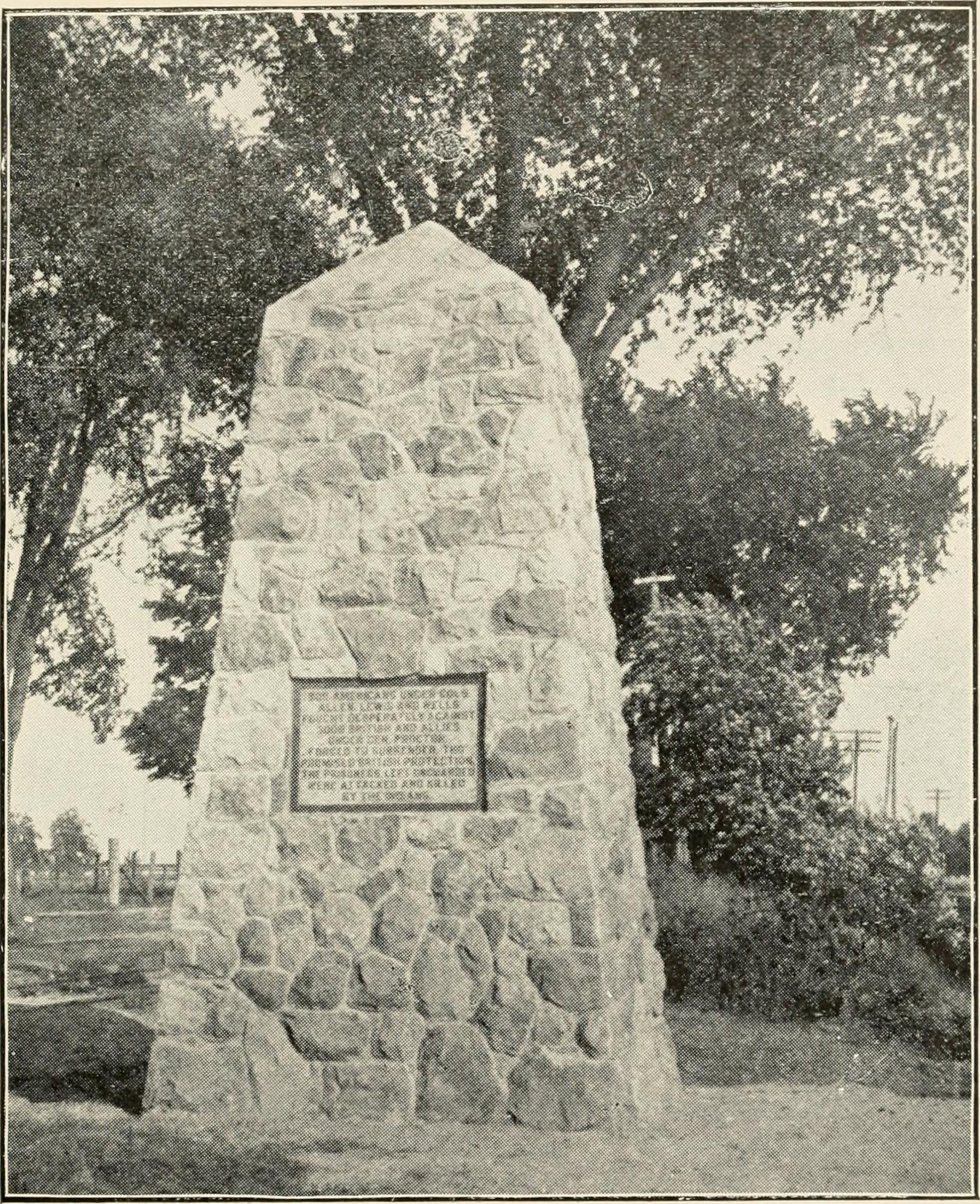 power house Text Appearing After Image: MONUMENT ERECTED BY WOMANS CIVIC IMPROVEMENT SOCIETY, MONROE, ONSITE OF RIVER RAISIN MASSACRE. RIVER RAISIN MASSACRE