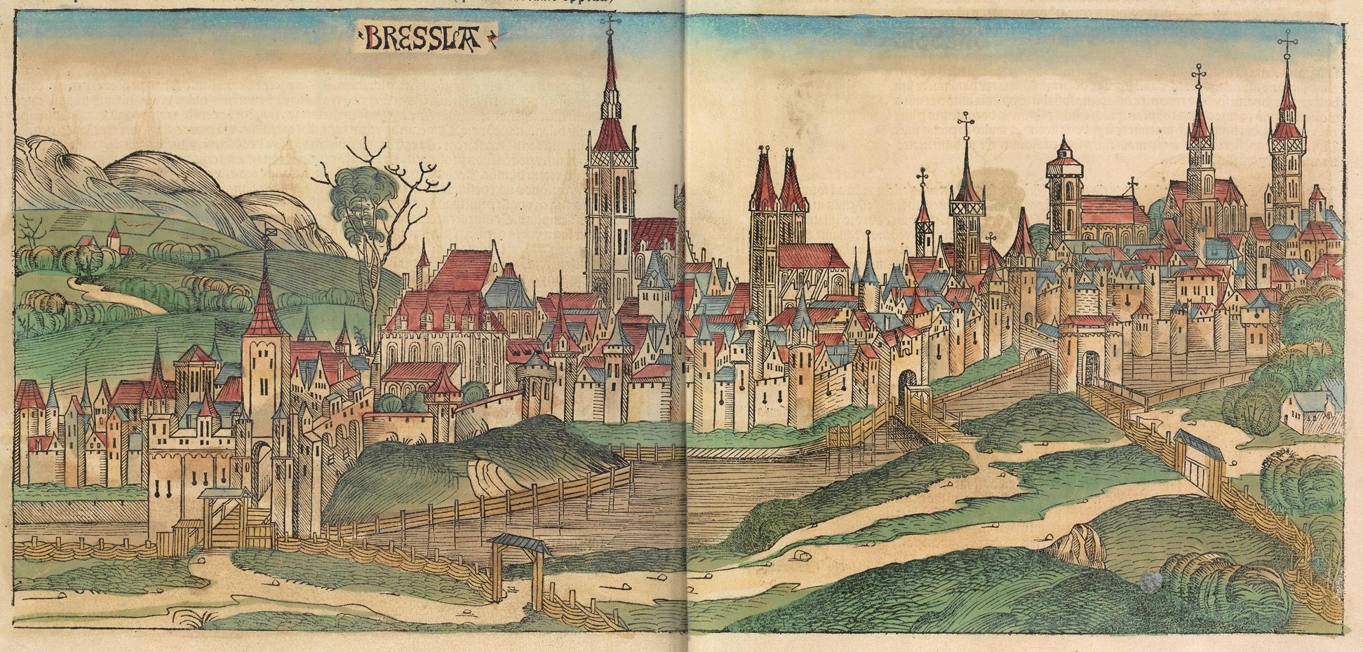 Stadtansicht von Breslau in der Schedel'schen Weltchronik von 1493
