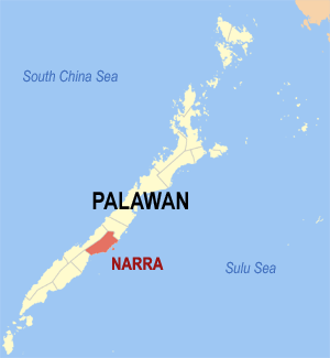 Map of Palawan showing the location of Narra