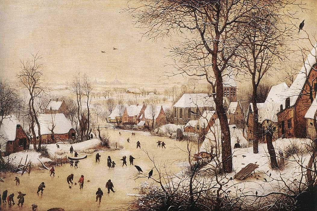 Paesaggio invernale con pattinatori e trappola per uccelli wikipedia - Schilderij kooi d trap ...