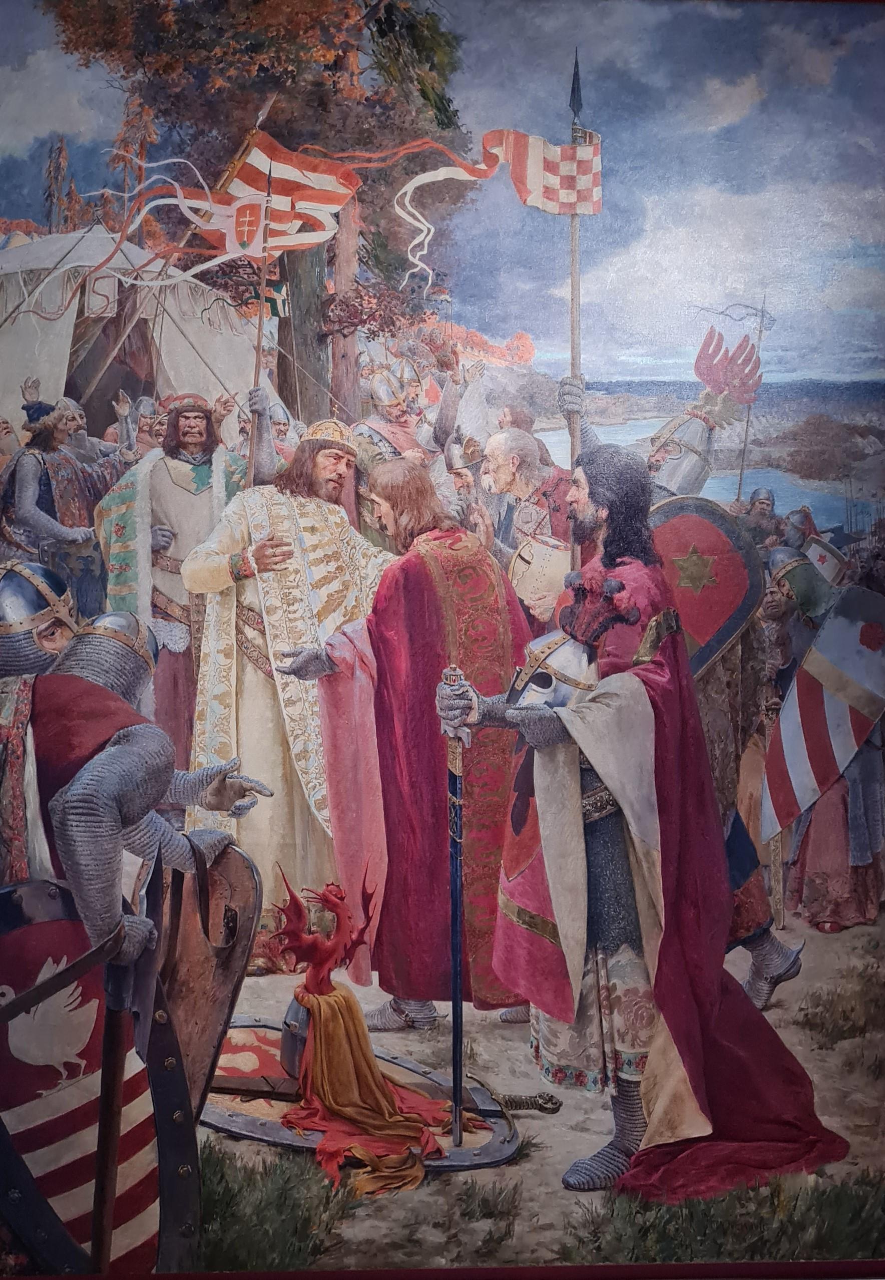 Croatia - Hungary, 800 Years of Common Heritage: Oton Iveković, The Kiss of Peace of Croatian Magnates to King Coloman in 1102, 1906, Croatia