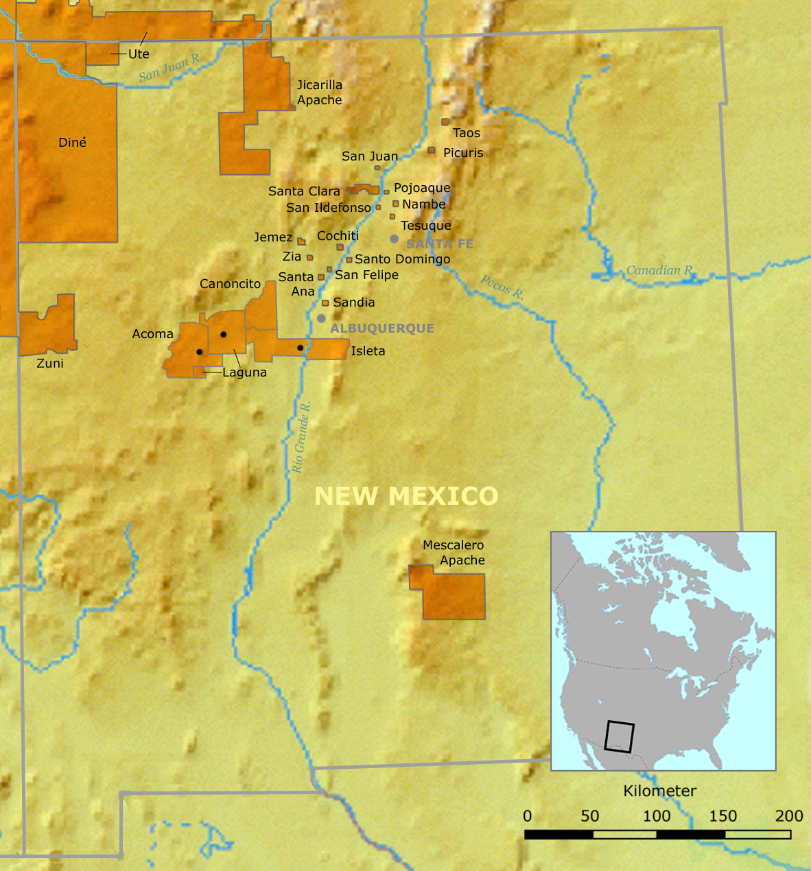 List Of Indian Reservations In New Mexico Wikipedia - Map of native american tribes in arizona