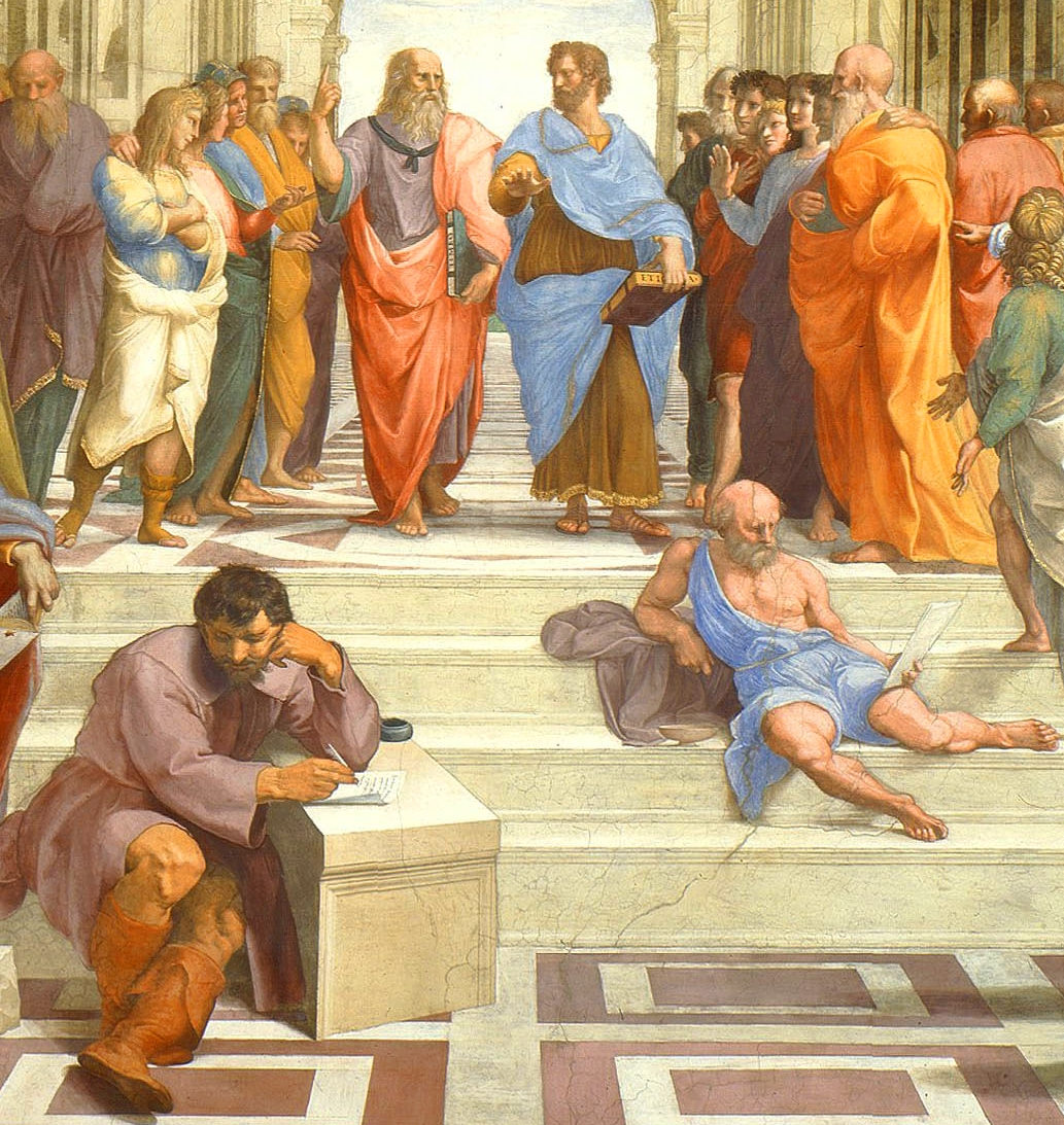 Detalj fra Rafaels «Skolen i Athen», Platon og Aristoteles (bak), Heraklit og Diogenes (front)
