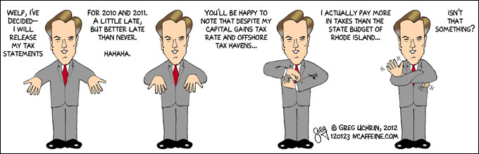 Romney tax statements - political cartoon caricature by Greg Uchrin