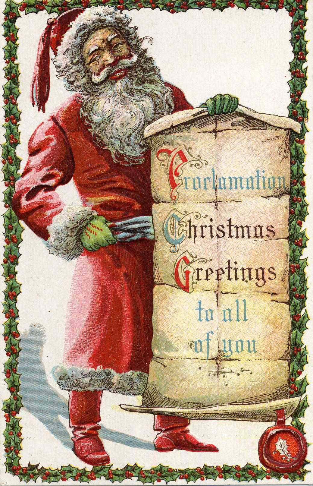 Filesanta In Red Robe Proclamation Christmas Greetings To All Of