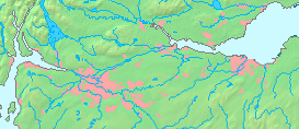 The Central Belt area with urban areas (pink), including Glasgow to the west and Edinburgh to the east