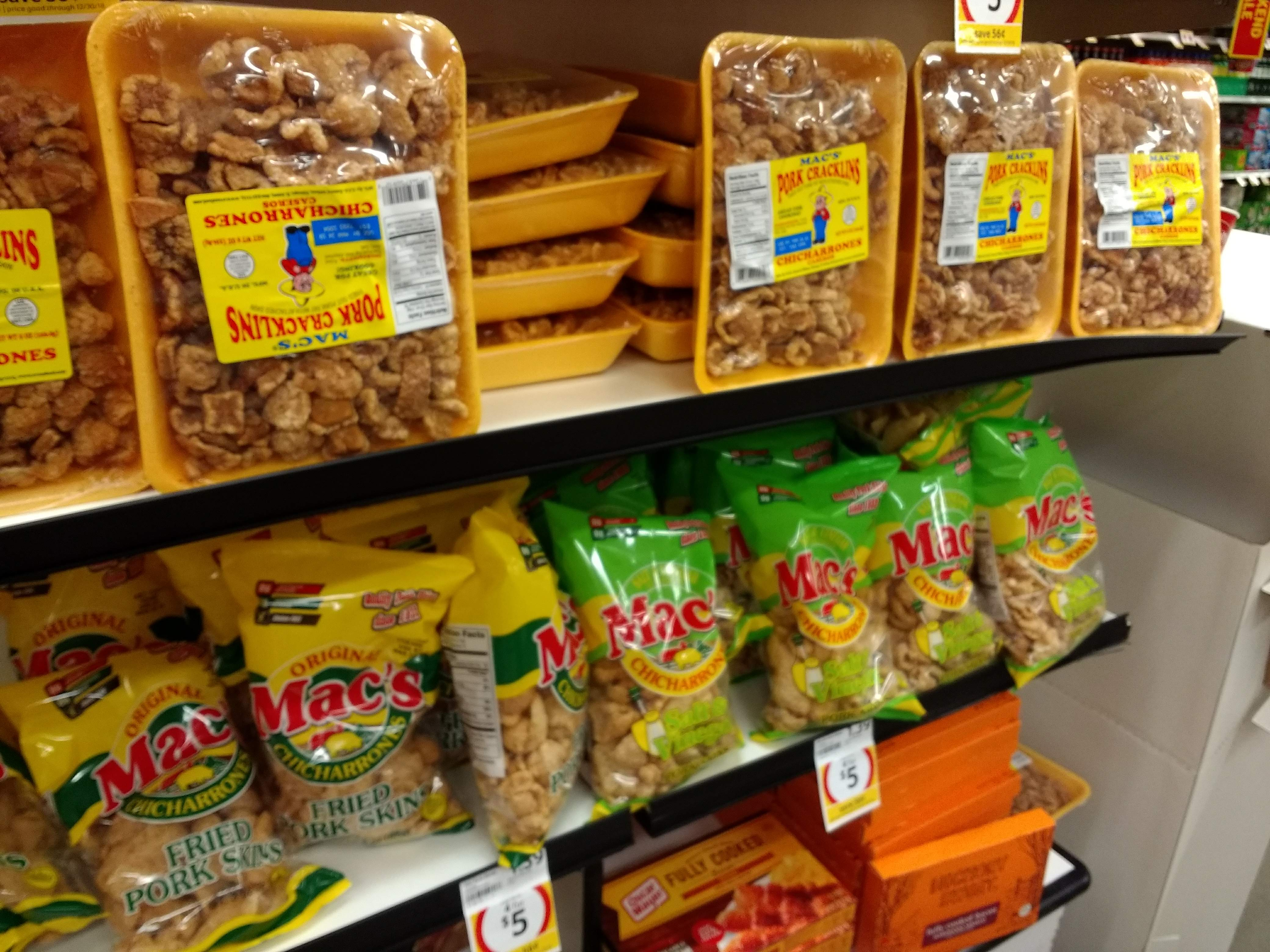 Packages of pork rinds