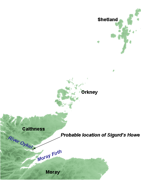 The Orkney and Shetland islands lie to the north and east of the north-east coast of mainland Scotland. Caithness is the northernmost part of the mainland, with Moray further south. Caithness and Moray are divided by a firth, called Moray Firth. Just north of this, towards Caithness, lies another firth, Dornoch Firth, into which flows the river Oykel. Sigurd's Howe lies on the north bank of Dornoch Firth.