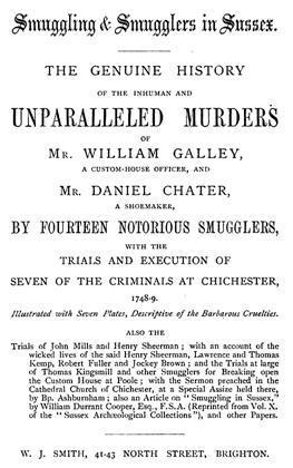 Title page of a book covering the trial of 7 smugglers for the murder of two revenue officers.