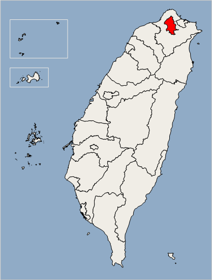 Taipei, Taiwan highlighted by red