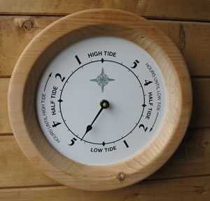 Tide clock Specially designed clock that keeps track of the Moons apparent motion around the Earth