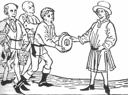 Zehntabgabe durch Bauern, zeitgenöss. Darstellung ca. 16., 17 Jht. PD via Wikimedia commons