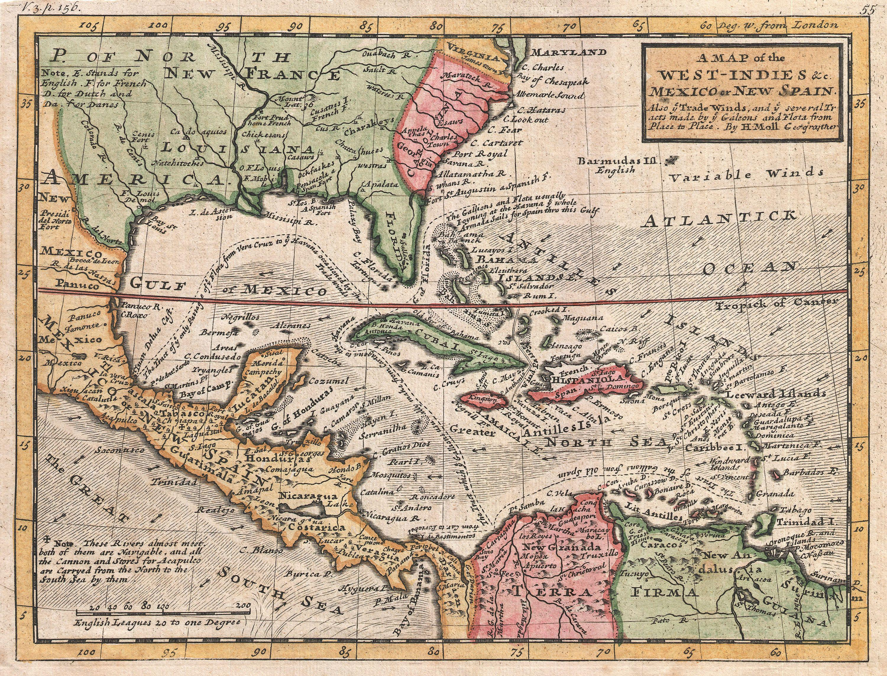 File 1732 Herman Moll Map Of The West Indies And Caribbean Geographicus Westindies Moll 1732 Jpg Wikimedia Commons