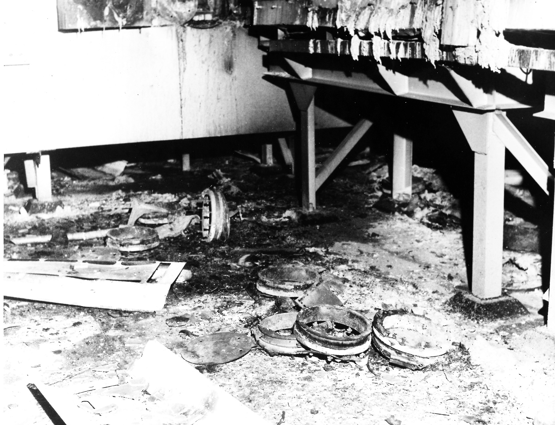 Black and white image of damage to a glove box from the 1969 fire at Rocky Flats