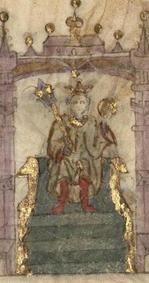 Alfonso XI en una miniatura medieval de las Crónicas de Jean Froissart (c. 1410)
