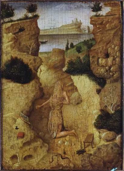 Antonello da Messina (1430–1479), San Girolamo penitente(verso), 1465 circa, tempera e olio su tavola, 19,5×14cm,New York, Collezione privata