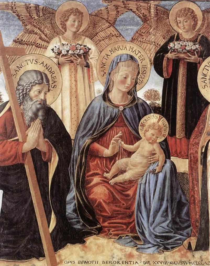 Benozzo Gozzoli - Madonna and Child between Sts Andrew and Prosper (detail) - WGA10333.jpg