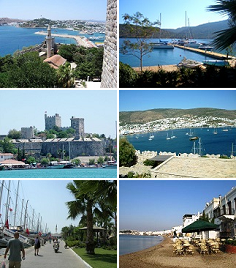 Clockwise from top left: 1st: View of Bodrum from castle of St.Peter, 2nd: بندرگاہ Atami, 3rd: A view of Bodrum, 4th: Seaside at Bodrum , 5th: Marina in Bodrum, 6th: Bodrum Castle.