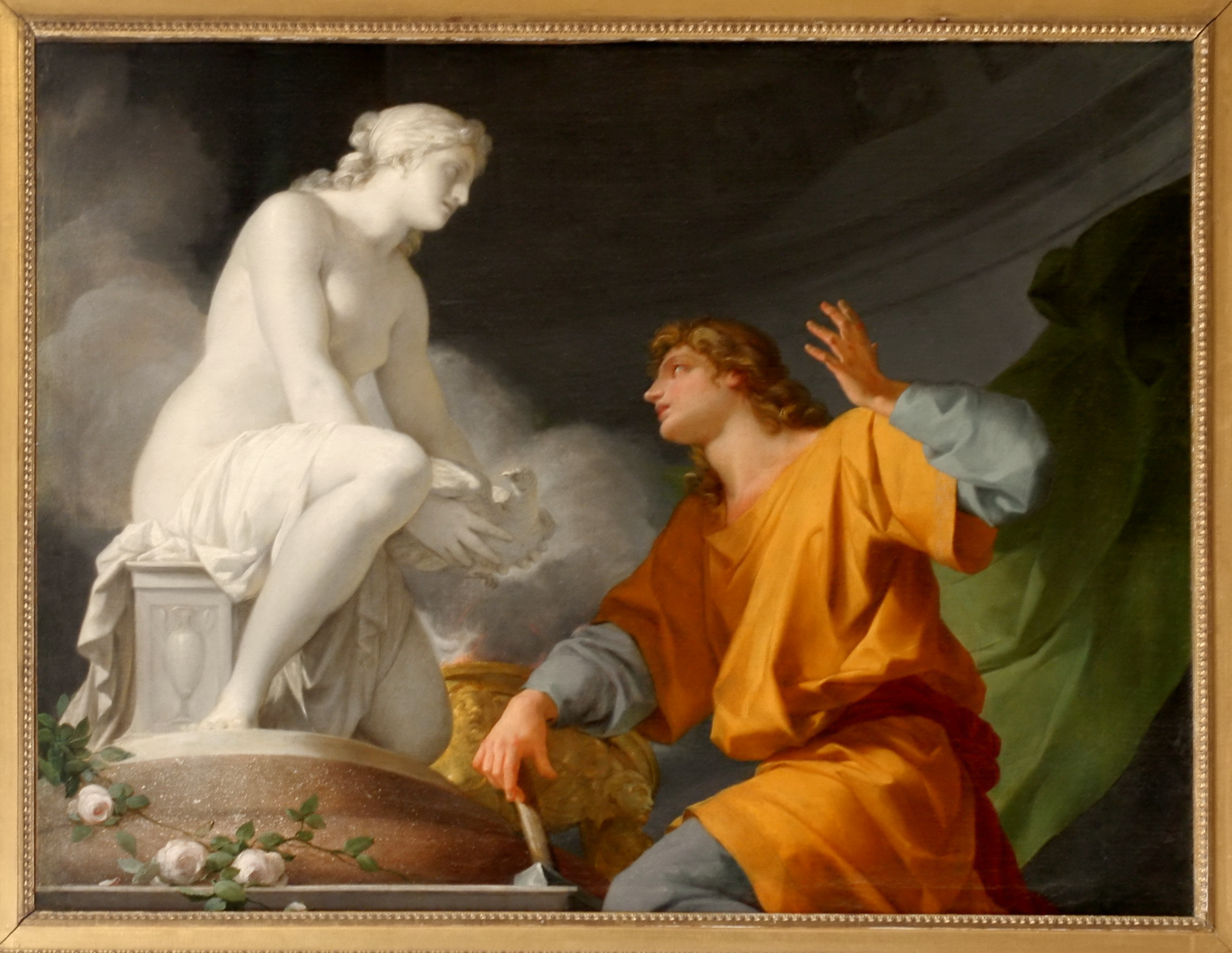 A painting of Pygmalion and his statue, inspired by the ancient Pygmalion myth. The Pygmalion Effect was named after this myth