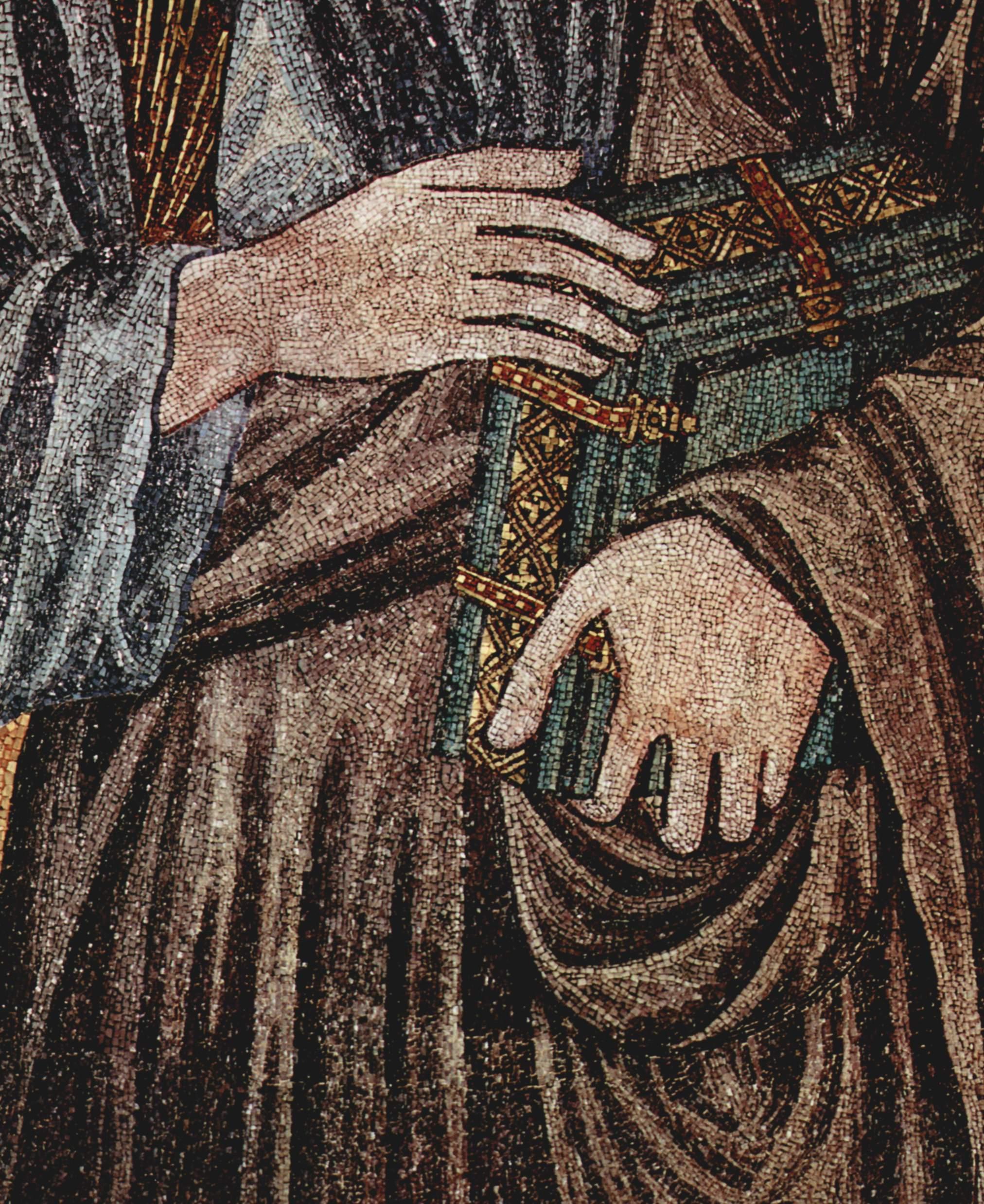 CIMABUE Christ Enthroned between the Virgin and St John the Evangelist (detail) 1301-02