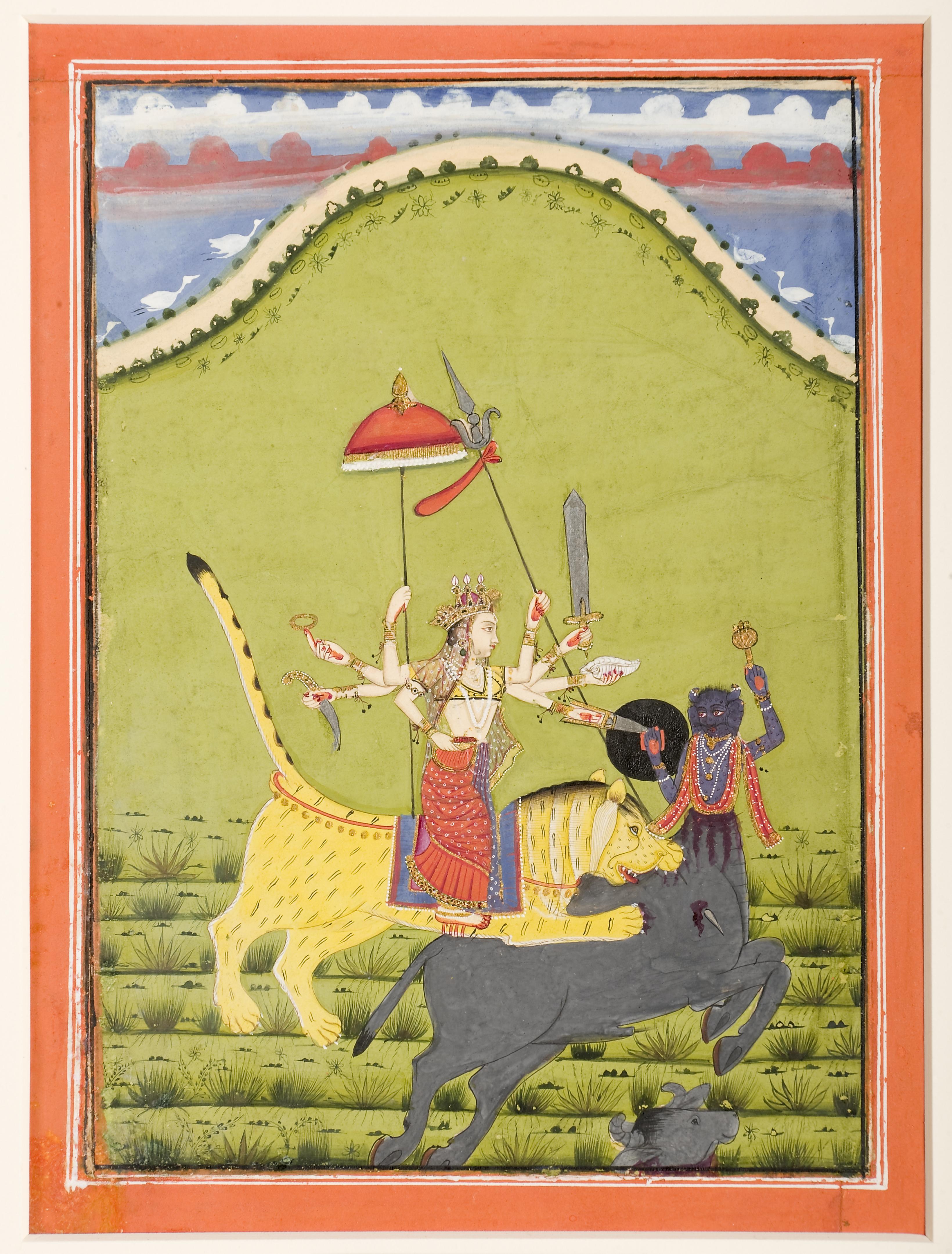 File:Durga on her tiger kills Mahisha the buffalo demon