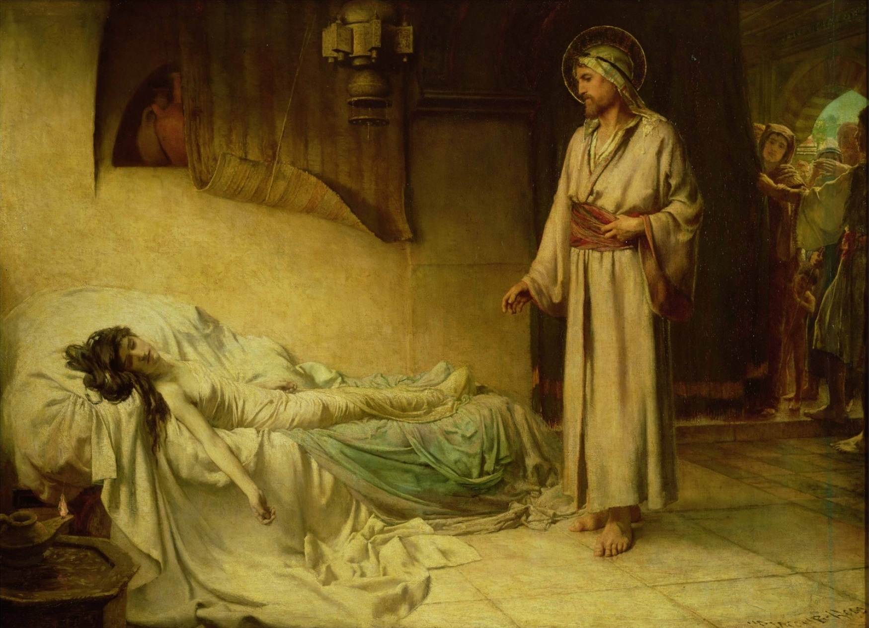 Image result for Jesus Raising of Jairus' Daughter (1885) — painting by George Percy Jacomb-Hood at Guildhall Art Gallery.