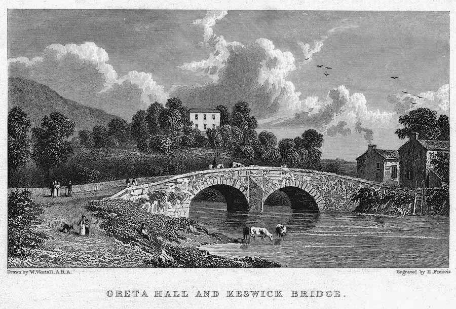 William Westall, Greta Hall and Keswick Bridge, c. 1840