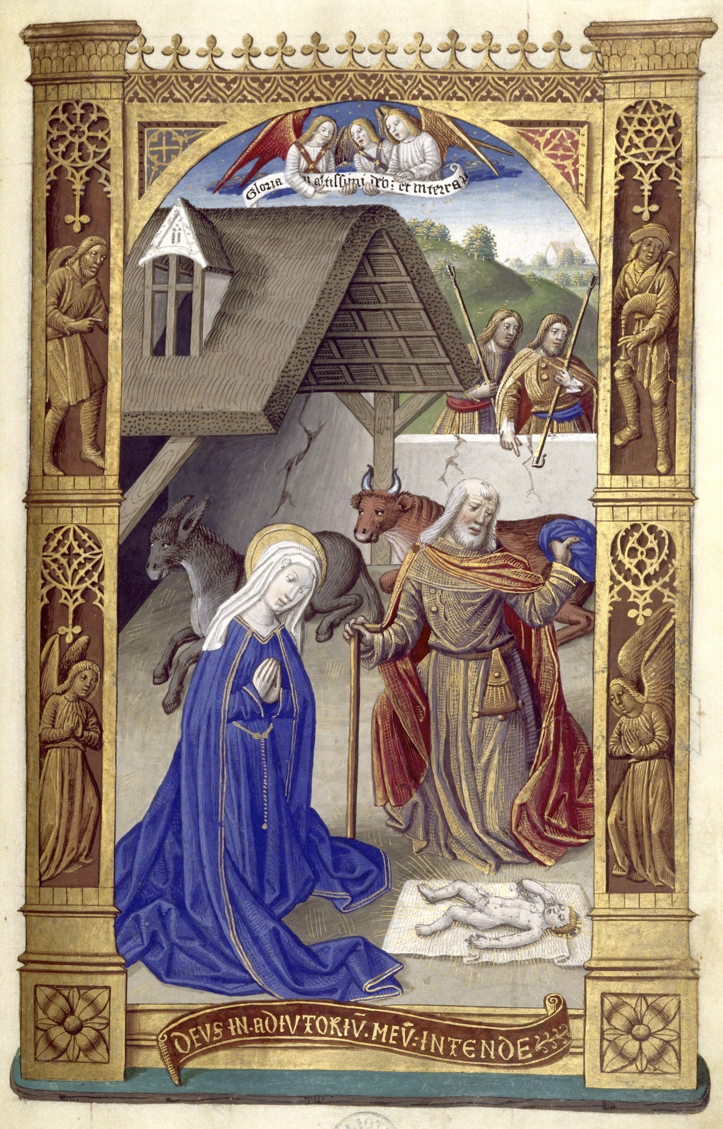 Geburt Christi. Stundenbuch König Karls VIII., spätes 15. Jahrhundert. (Madrid, BNE  VITR/24/1, fol. 36r.)