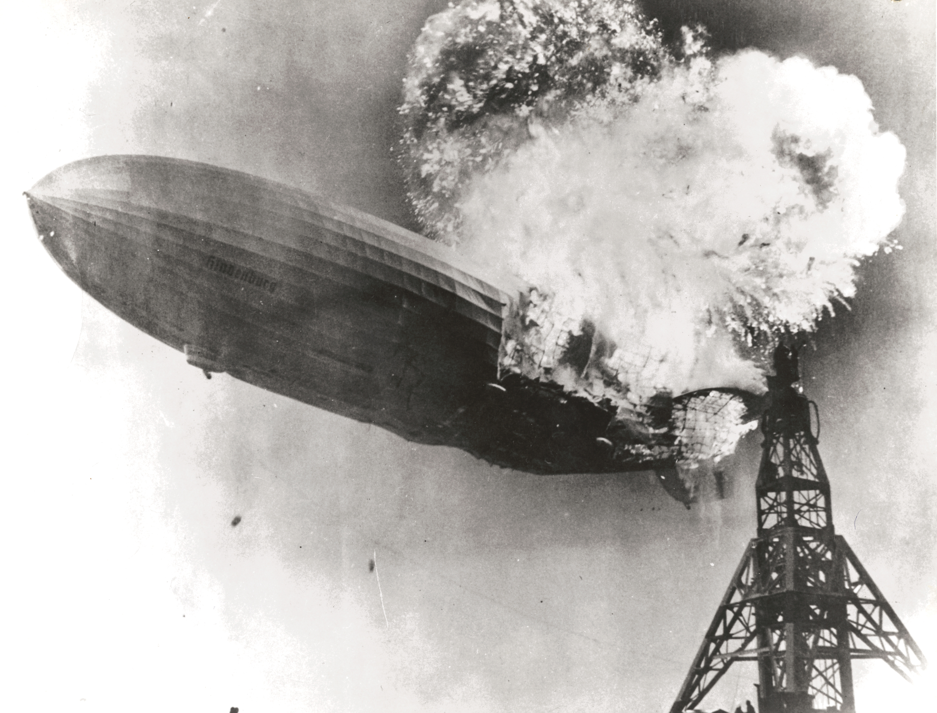 Hindenburg begins to fall seconds after catching fire