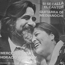 Portada del simple Si se calla el cantor de Horacio Guarany y Mercedes Sosa en 1973.