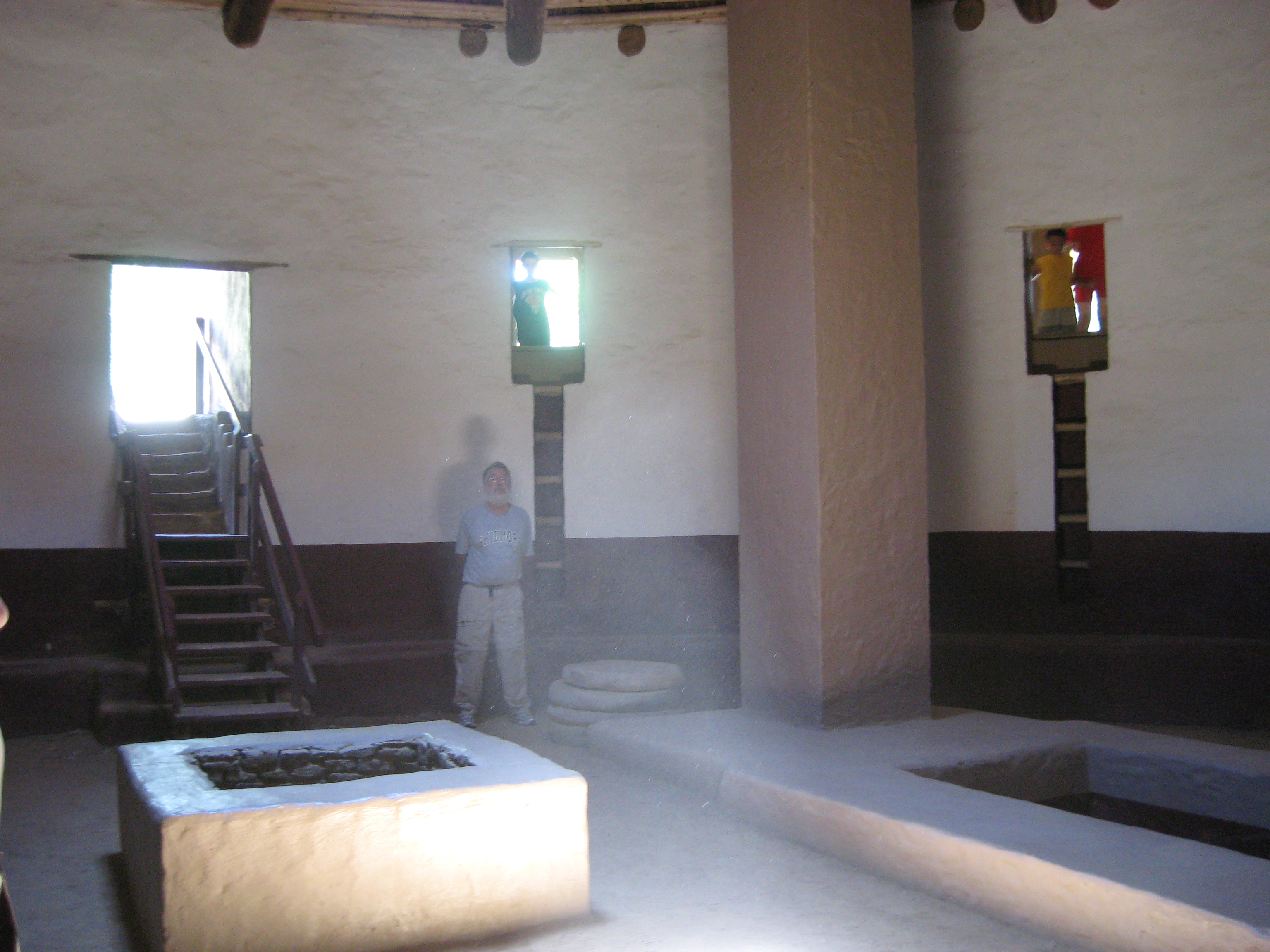 Interior of Great Kiva at Aztec Ruins National Monument shows the vast size of the structure.