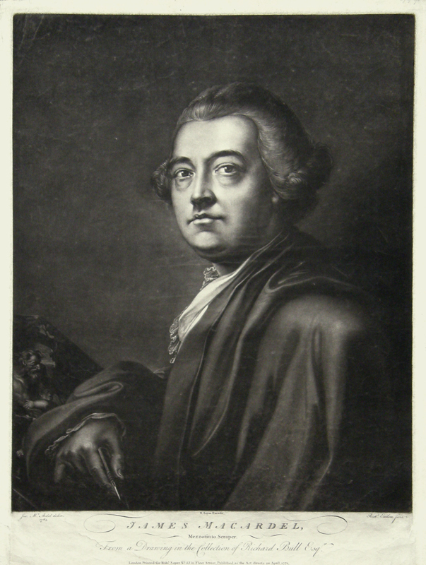 James MacArdell, 1771 mezzzotint by [[Richard Earlom]] after a self-portrait drawing.
