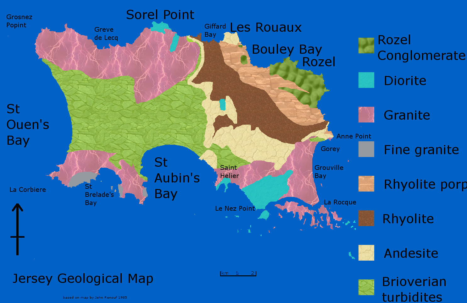 Geological Map Of Jersey Channel Islands