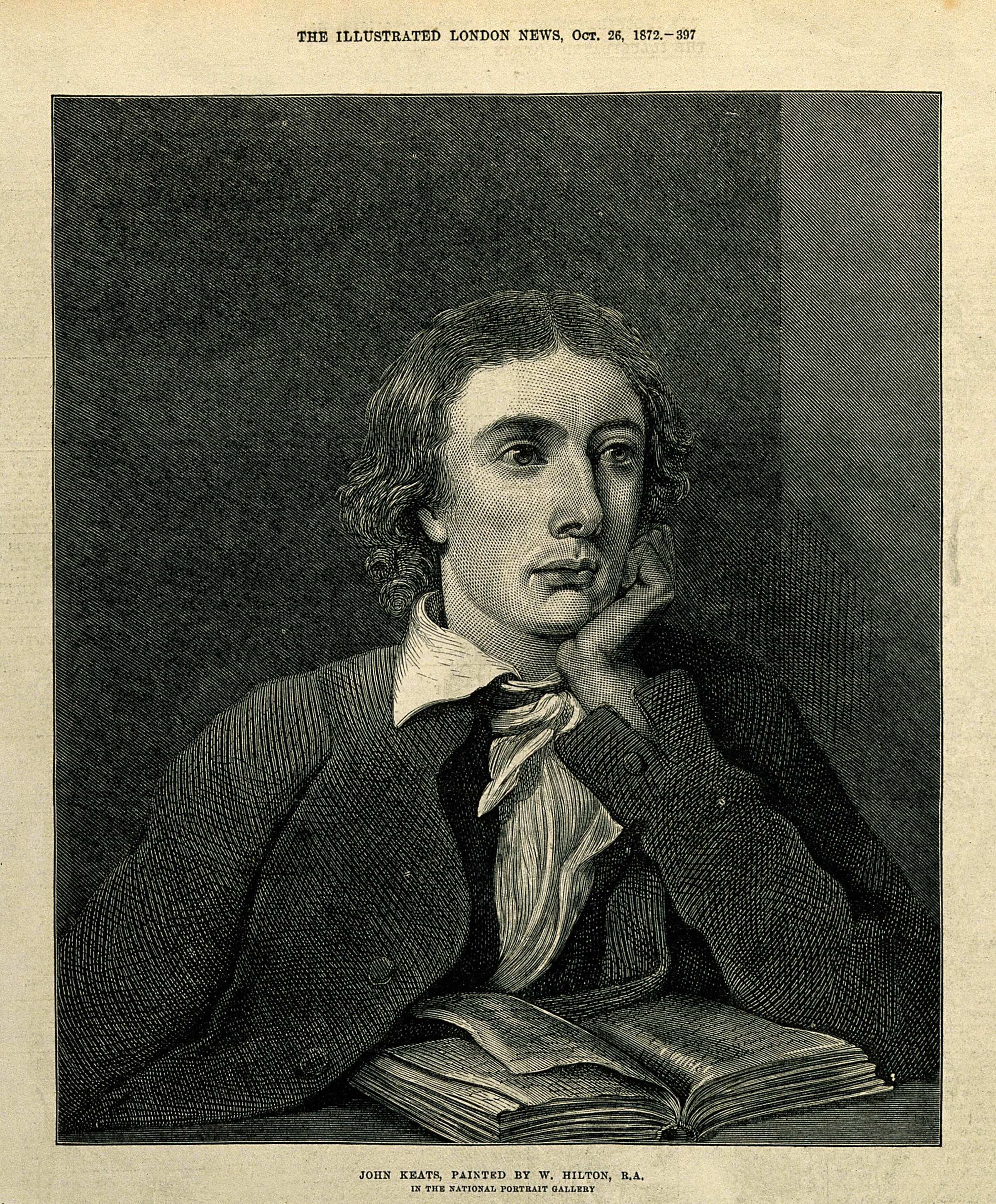 file john keats wood engraving after w hilton wellcome v0003193