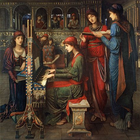 John Melhuish Strudwick, Evensong, St Cecilia, 1897 Pre-Raphaelite painting of harpsichord and singers