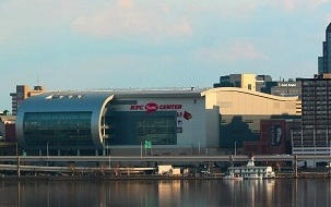 The KFC Yum! Center was completed in 2011 and is home to men's and women's basketball KFC Yum! Center - April 2011.jpg
