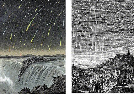 a 19th century engraving of meteor showers