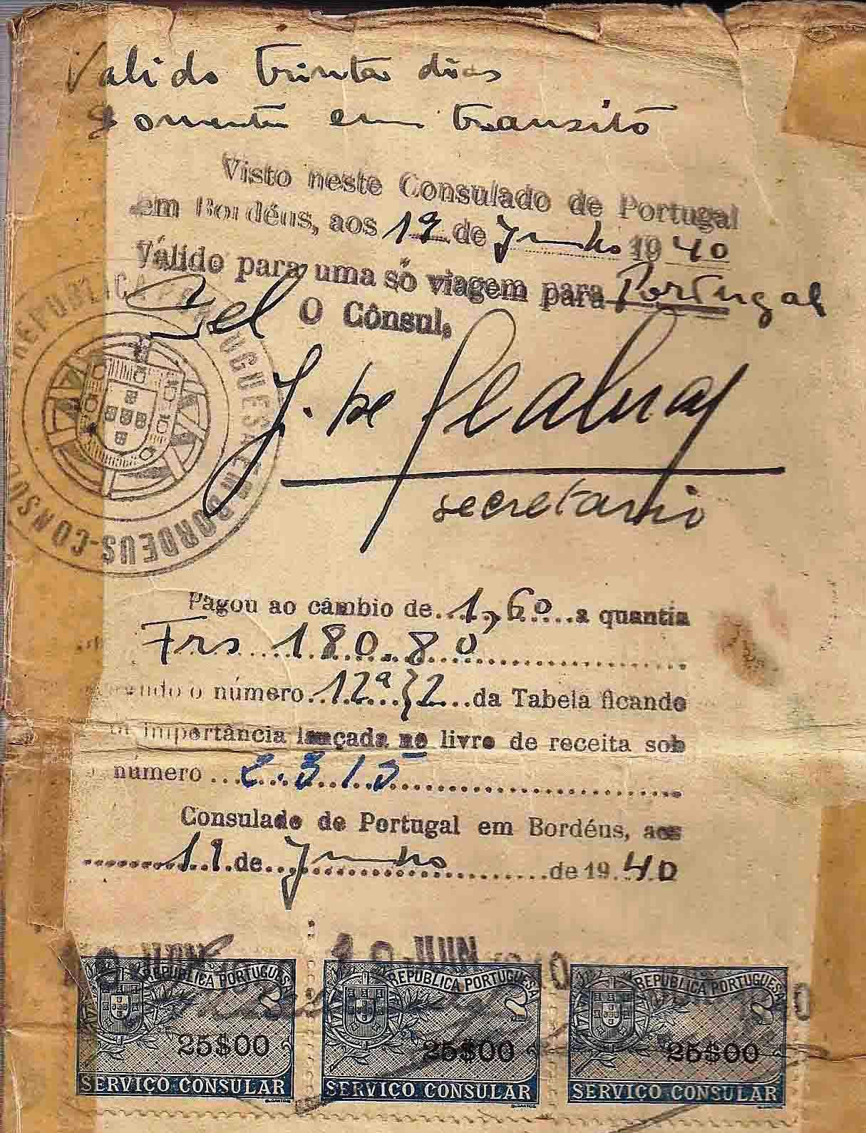 Life saving visa issued by Dr. Aristides de Sousa Mendes in June 19, 1940..jpg