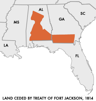 In the Treaty of Fort Jackson, the Muscogee surrendered large parts of present-day Alabama and Georgia. Map of Land Ceded by Treaty of Fort Jackson.png