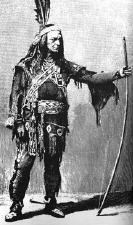 An actor dressed as Metamora, a Wampanoag man