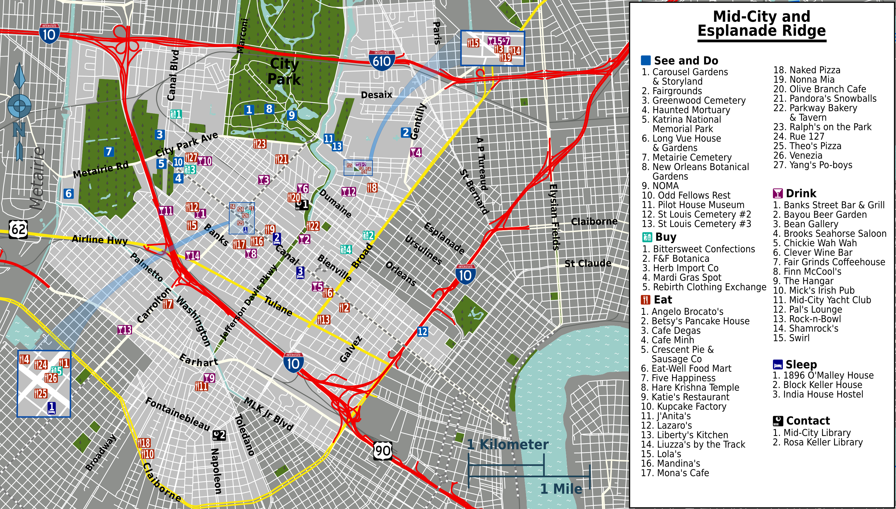New Orleans Mid City Mid-city New Orleans Map