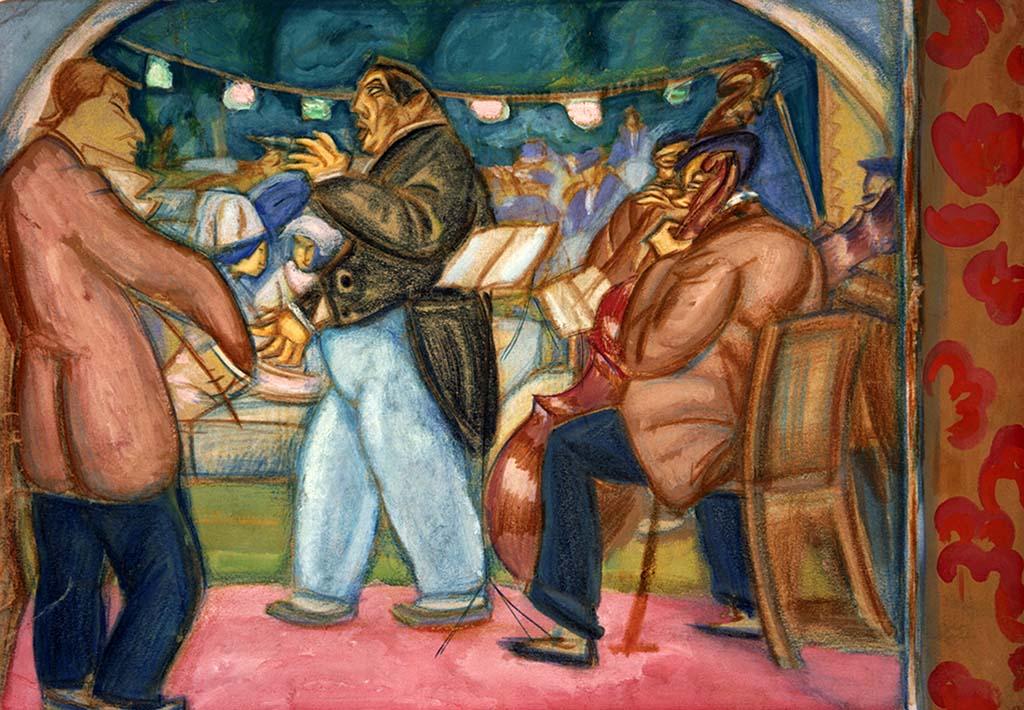 Musicians by Boris Grigoriev (GTG, 1914).jpg